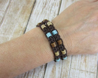 Brown Macrame Bracelet, Brown and Blue Hippie Bracelet, Brown Knotted Bracelet, Aqua Hemp Bracelet, Wrap Bracelet, Gifts for Daughter
