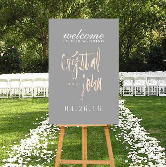 Photo Booths For Weddings: Rose Gold Wedding Welcome Sign Printable Wedding Welcome