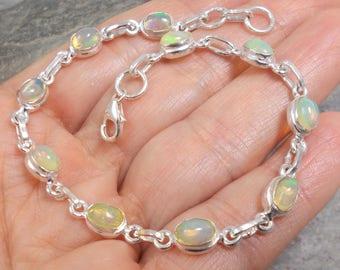Ethiopian Welo Opal and 925 Silver Bracelet