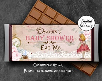 Alice in Wonderland Custom Candy Chocolate Bar Wrapper - Hershey bar wrapper - Party,Favor,Digital,Printable,Download,Personalized