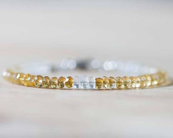 Shaded Citrine Bracelet with Rainbow Moonstone, Delicate Beaded Citrine Jewelry, Yellow Stacking Bracelet, Rose Gold Fill Sterling Silver