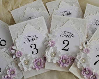 Silver Table Numbers Purple Wedding Decorations Names Vintage