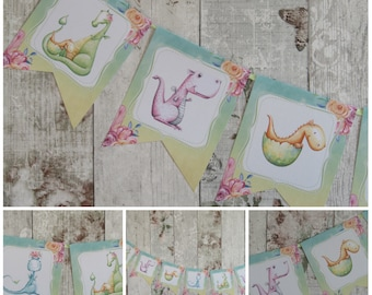 Dragon Bunting Banner Garland Birthday,Party,Decoration,Baby Shower,Fairytale