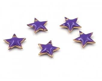 Star 10 enamel charms 12x11mm purple