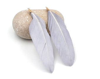 10 feathers grey 8cm