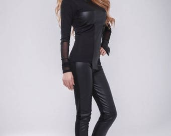 MEGA SALE Faux Leather pants / Leather leggings / second skin Pants / Black pants / Extravagant pants / Black leggings / wedge