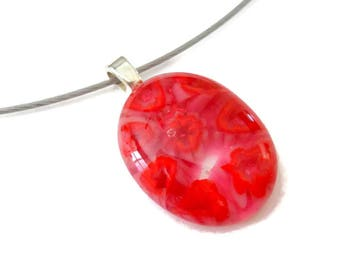 Red & Pink Millefiori Floral Fused Glass Oval Pendant, Valentines Day Gift For Her