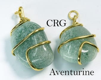 Gold Plated Spiral Wrapped Tumbled GREEN AVENTURINE Pendant (TU23DG)