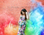 Rainbow Baby Pregnancy Photo Scene with Colorful Smoke Colors, JPG Photography Digital Backdrop Background, Maternity or Baby Photoshoot