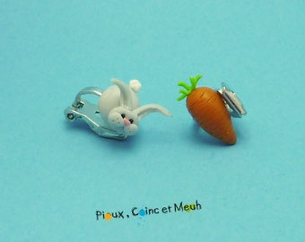 Bunny and carrot - clip earrings