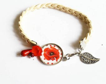 Bucolic Bracelet: poppy and red beads