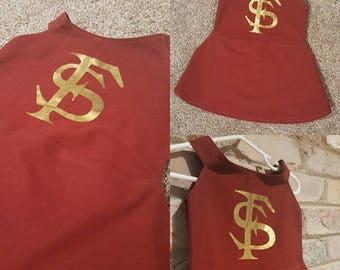 Florida State FSU Seminoles toddler cheerleader dress! Size 18 - 24 months 2T. Scarlet circle skirt zipper closure boutique quality
