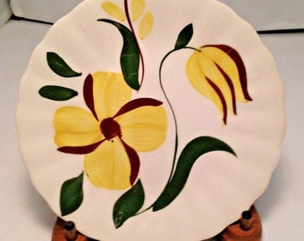 "Blue Ridge Southern Pottery  Yellow Flowers Bread Dessert Plate 6.25"" Inches"