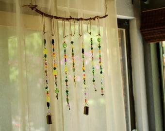 Boho Wind Chime , Window Decoration , Hippy Decor , Zen Mobile , Outdoor Decorations