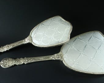 Mirror and Brush Vanity Set Dressing Table Set Silver Plated Silver Back Pattern