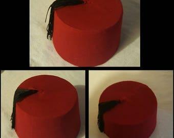 Egyptian Traditional Red Fez Tarboush Turkish Ottoman Hat Black Tassel , Free shipping to USA