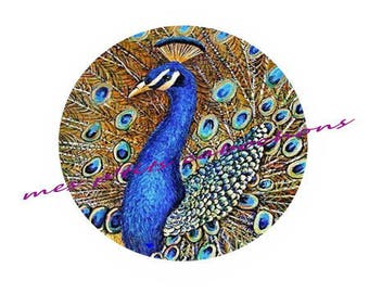 12 mm - nice Ref 4 Peacock glass cabochon