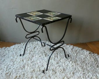 Side table, tile table, coffee table, plant table, mid century table, midcentury furniture, shabby chic table, table wrought iron, Christmas gift