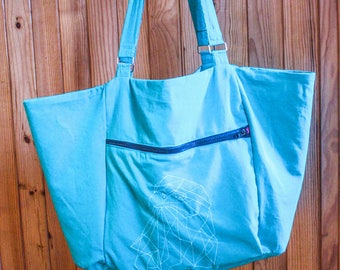 "Large Crossbody bag in turquoise cotton ""Eagle ice"""