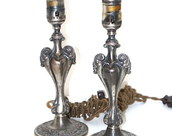 1920 Pewter Art Nouveau Heart Shaped Lamps - Made in Germany