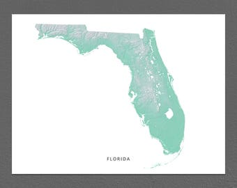 Florida Map Print, Florida State, Aqua, FL Landscape Art