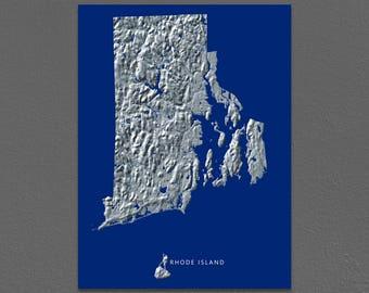 Rhode Island Map, Rhode Island Wall Art, RI State Art Print, Landscape, Navy Blue