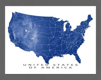 USA Map, USA Print, US Map Wall Art, United States Landscape