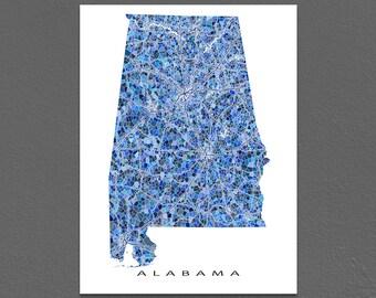 Alabama Map Print, Alabama State Art, AL Wall Decor