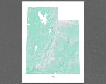 Utah Map Print, Utah State, Aqua, UT Landscape Art