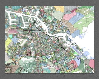 Amsterdam Map Print, Amsterdam City Map Art, the Netherlands, Colorful