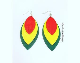Wooden Earrings - Red, Yellow, & Green