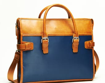 "14"" Laptop Bag, Briefcase, Shoulder Bag Notebook, Made of Vegan leather Carrying Bag by SettonBrothers, 13""-14"""