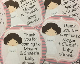 Princess Leia Baby Shower Favor Tags - Birthday Shower Tags - Star Wars Birthday Party