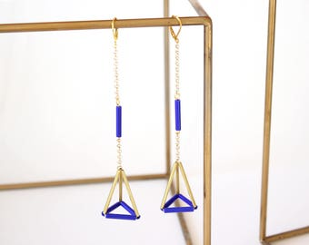 Pyramid earrings /Blue earrings/ Extra long earrings/ Geometric earrings/ Triangle earrings/Gift fot her/Valentines gift