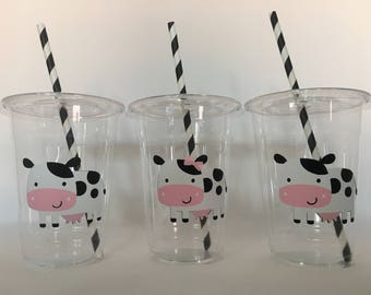Cow Party Cups, Cow Birthday Party Cups, Cow Baby Shower Party Cups, Farm Party Cups, Farmer Party Cups