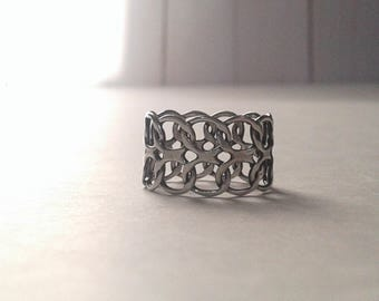 Flexible Chain Link Sterling Silver Ring