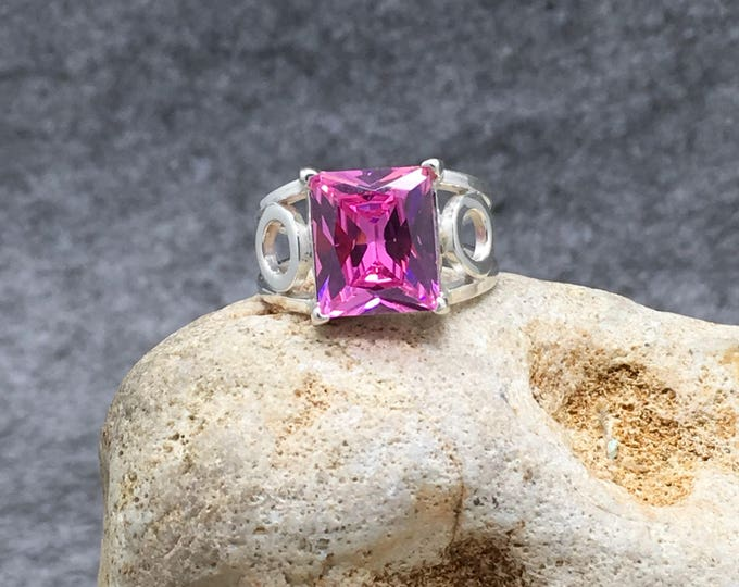 Handcrafted Sterling Silver Ring with a Pink Sapphire.
