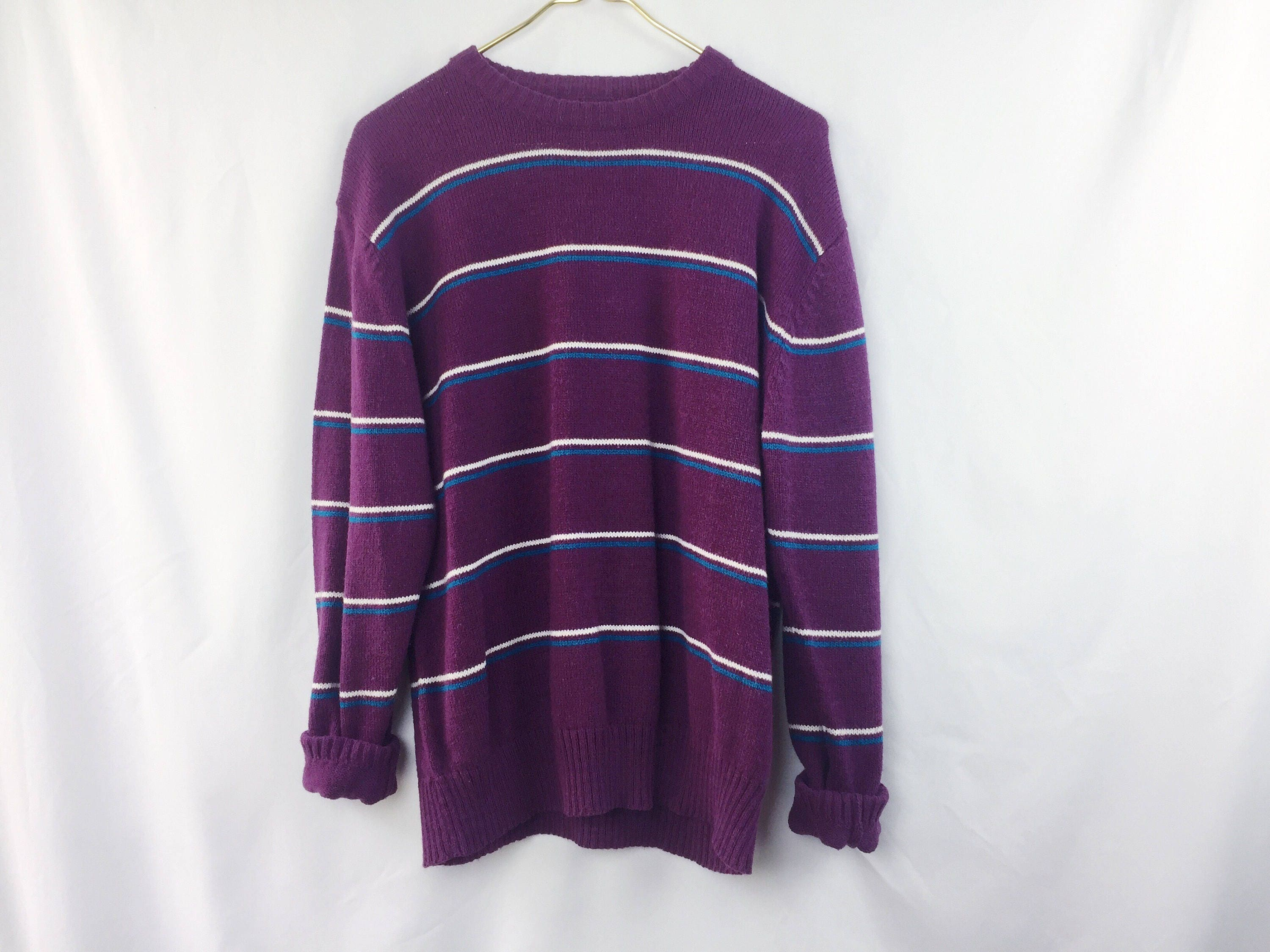 90s Vintage Le Tigre Pullover Sweater // Purple Striped Knit