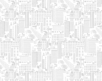 Rush Hour Skyline in White/Gray by Studio E by the HALF yard, 2771 9