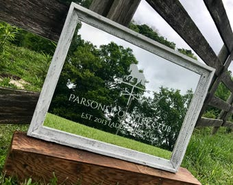 Personalized Mirror, Large Mirror, Custom Barnwood Mirror, Custom Engraved Mirror, Etched Mirror, Custom 18x24 Mirror White Washed barnwood