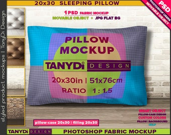 20x30 Queen Sleeping Movable Pillow | Photoshop Fabric Mockup M4-2030-4 | Wood floor | Brick Leather wall | Smart Object Custom colors