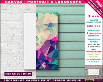 12x20 Canvas on Wall | Photoshop Print Mockup C1220-W | Movable Unframed Portrait Landscape | Bricks Wood | Smart object Custom colors