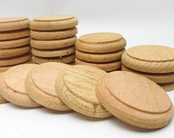 "CRAFTERS *24 Solid Oak Round Disks *Unfinished Circle Wooden Blanks *3 1/4"" Wood Craft Cutouts *Craft Supplies *Woodworkers *Artists Supply"