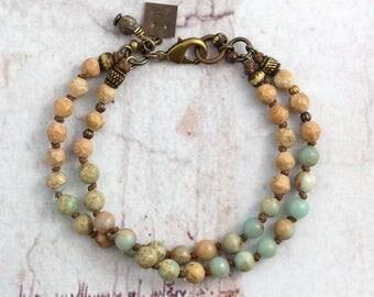 Rustic jasper bracelet, Aqua stone jewelry, Cowgirl gift, Boho friend present