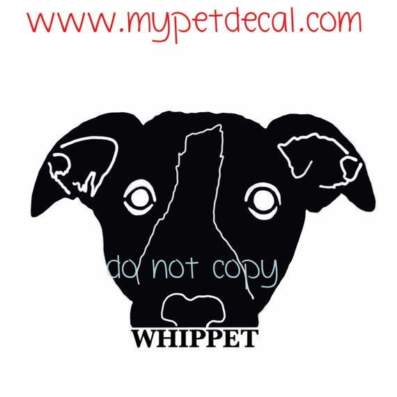 Personlized WHIPPET decal | FREE shipping | Whippet name decal | decals for Yeti tumblers, cars, laptops, devices etc | wall decals upon req