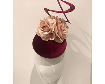 Burgundy Velvet Headpiece with Roses and Intertwined Swirls