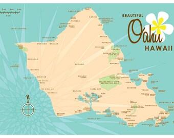 Oahu Map Print (Vintage Turquoise)