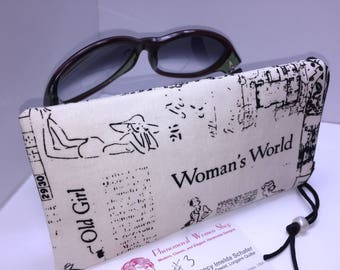 Glasses Case, Retro Eyeglasses Pouch, Vintage Print Sunglasses Case, Cute Zipper Pouch, Fabric Glasses Case, Soft Eyeglass Case