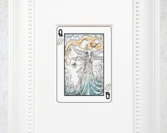 """Fairy art print, Fairy art, Playing card, Faerie art, Ink drawing, Blonde fairy, Lily pad art, Matted giclee print, """"Queen of Lily pads"""""""