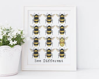 Bumblebee Illustration Print, Bee Different, Raibow, Blue or Pink